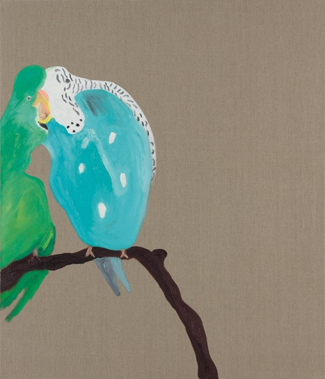 Two parakeets, 2013 by Darren McDonald