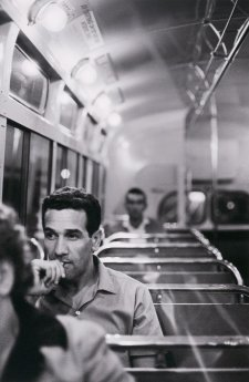 Charles Perkins on a bus to Tranby Aboriginal College, Glebe, c. 1964 (printed 2015) Robert McFarlane