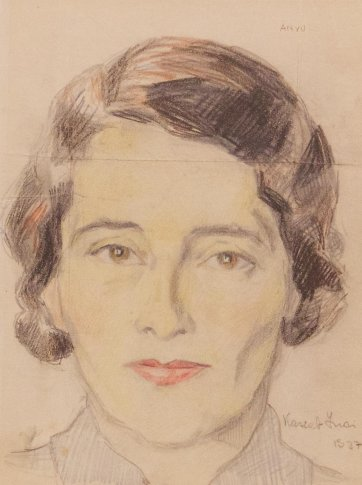 Drawing of Anyu (Judy's mother), 1937 by Judy Cassab