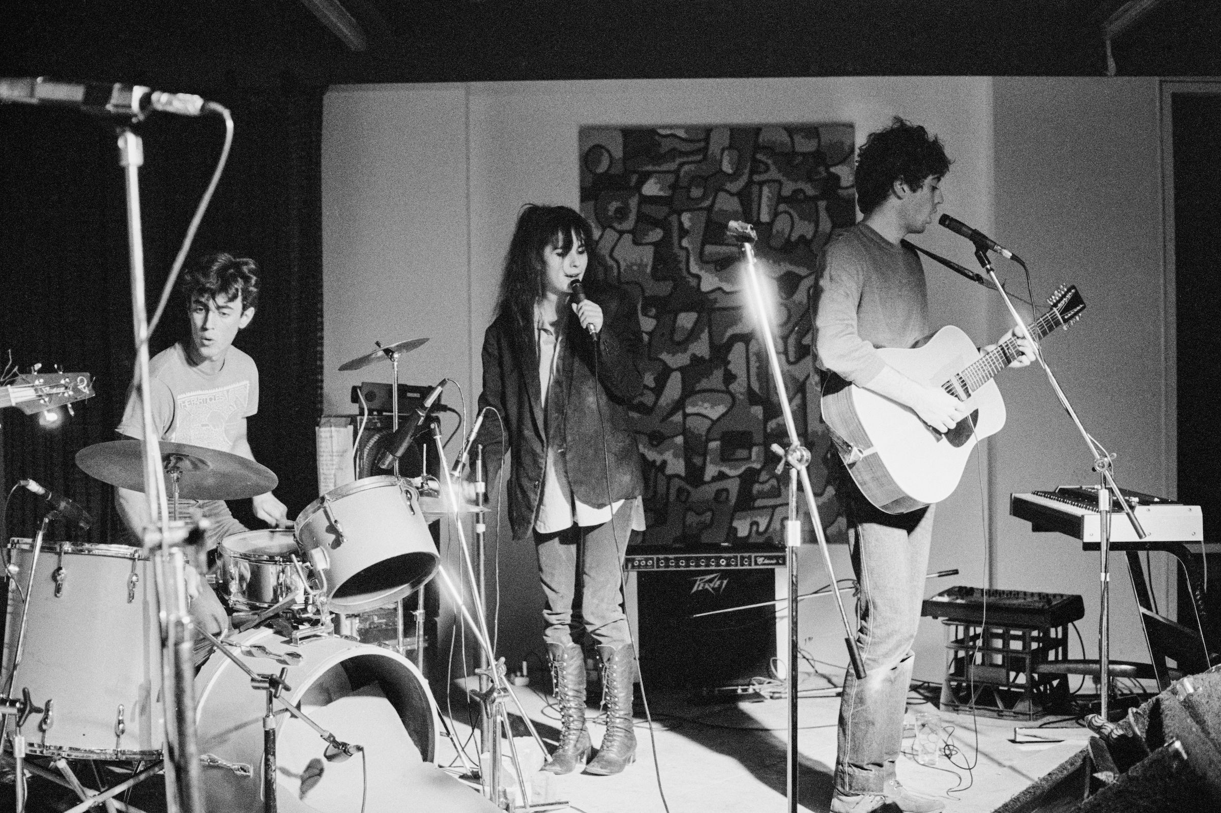 The Lighthouse Keepers, ANU Union, Canberra, 1983. Juliet Ward (vocals), Greg Appel (guitar), Steven Williams (drums) 'pling
