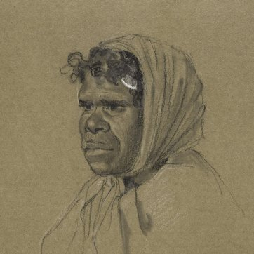 Bust length portrait of Biddy Salamander, an indigenous Australian woman from the Broken Bay tribe, wearing a head-scarf, turned half to the left, 1834-5
