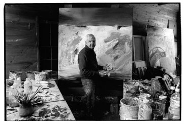 Arthur Boyd with horse hair brush - Bundanon 1993 by Greg Weight