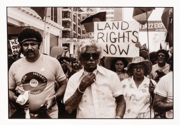 Senator Neville Bonner at illegal march for land rights before Commonwealth Games, Brisbane, 1982 Juno Gemes