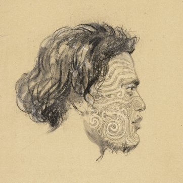 Portrait of Oltery[?] Chief of Otago, New Zealand, a heavily-tattooed Maori man in profile to right, 1834