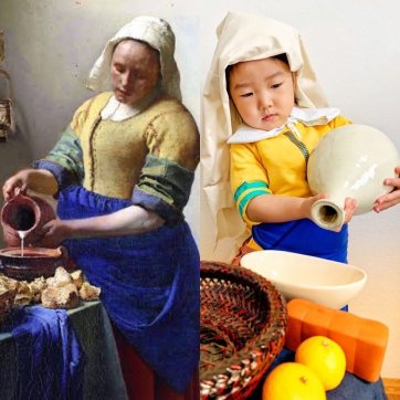 The Milkmaid, 2020 ojyoucindy after Johannes Vermeer