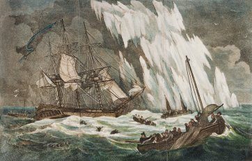 Distressing situation of the Guardian sloop, Capt Riou, after striking on a floating Island of ice, 1809