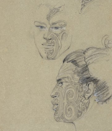 Two views, full face and in profile to left, of the head of Taekghi[?] from Kangango[?], a heavily tattooed Maori man, with a detail of the tattoo on his forehead, 1834-5