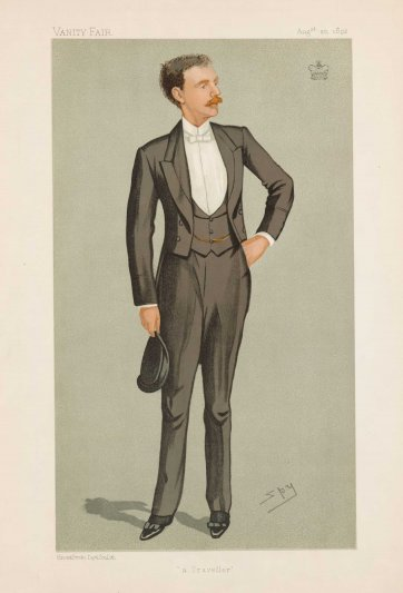 """A Traveller"" 2nd Baron Lamington (Image plate from Vanity Fair), 1892 by Sir Leslie Ward"
