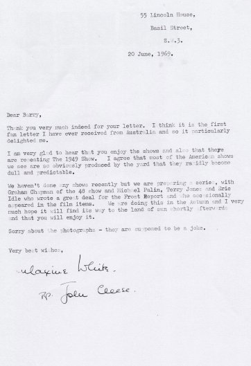 Letter to the author from John Cleese, 1969