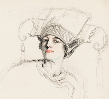 Self portrait (Hilda in the Chinoise hat), c. 1913 Hilda Rix Nicholas