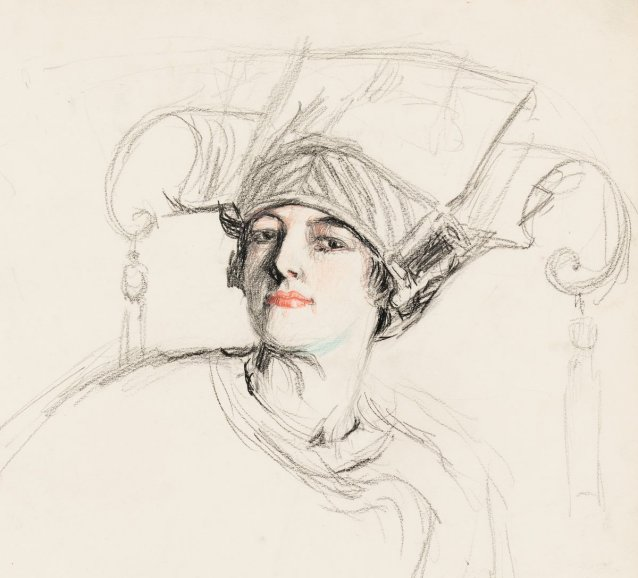 Self portrait (Hilda in the Chinoise hat)
