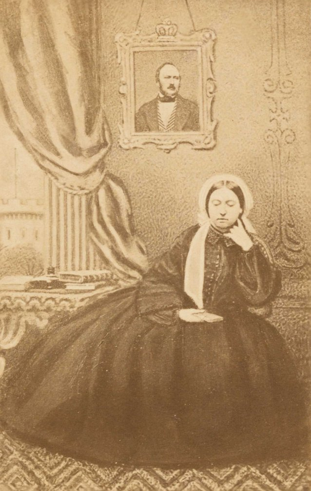 Queen Victoria in mourning, with a portrait of Prince Albert