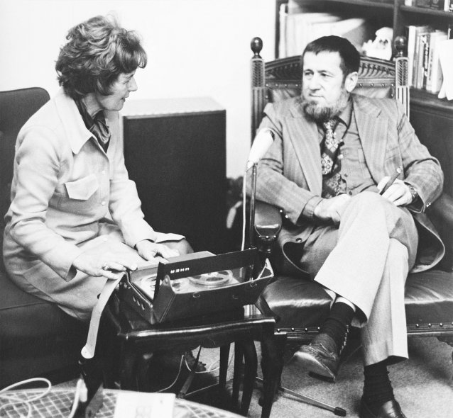Portrait of Hazel de Berg interviewing physicist Professor Harry Messel, 1972 David Moore