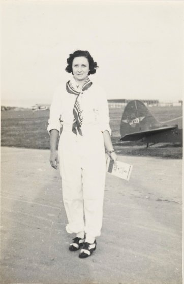 Mrs Bonney flying from Australia to South Africa via Siam. Singapore 1937 (full length portrait) by an unknown artist