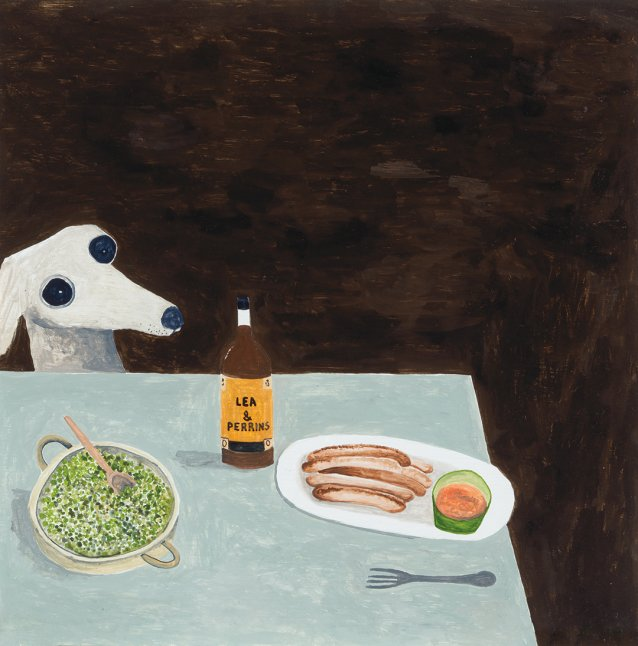 Dog at dinner table, 2015 by Noel McKenna