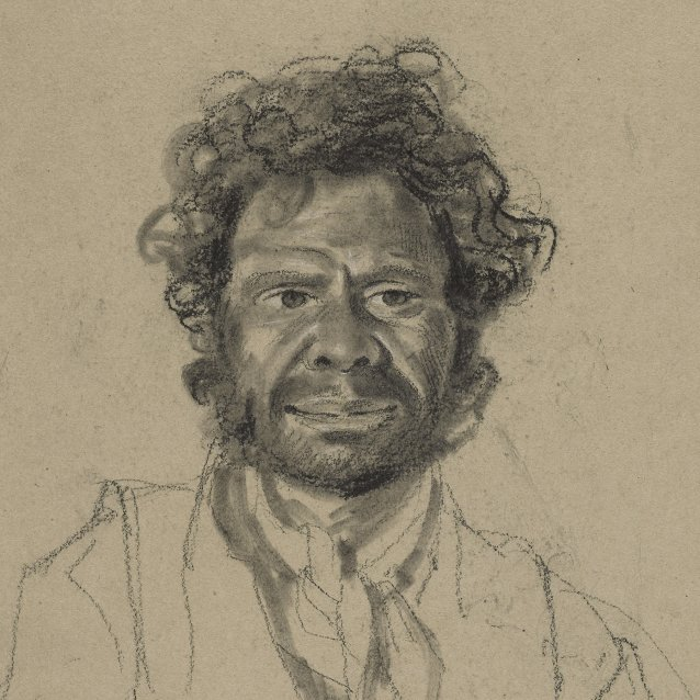 Bust-length portrait of Toby, an indigenous Australian man from the Coal River or Hunter River Tribe, facing front, 1834-5