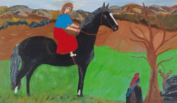 Untitled (self portrait on black horse) by Violet Frisby