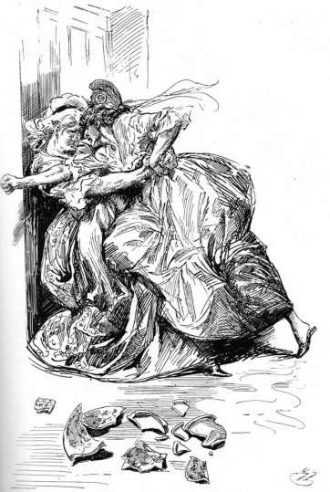 Struggle between Miss Pross and Madame Defarge, 1910 by Harry Furniss