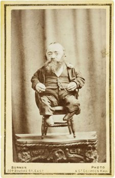At the Pantechnetheca, Exhibition, Eastern Arcade, Dominick Sonsee, the smallest man in the world, c. 1880 William Burman