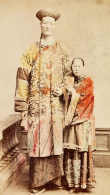 Chang the Chinese giant with his wife Kin Foo, c. 1871 by an unknown artist