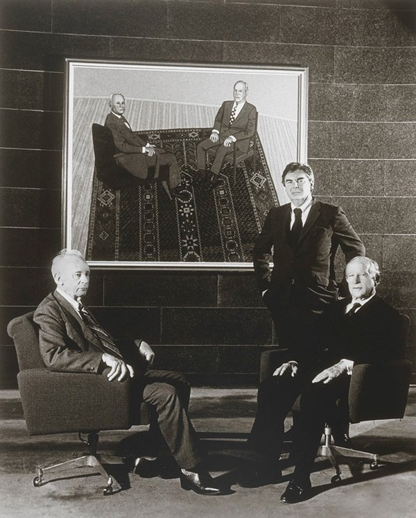 Painter John Brack with Professor Alex Mitchell and Sir Garfield Barwick