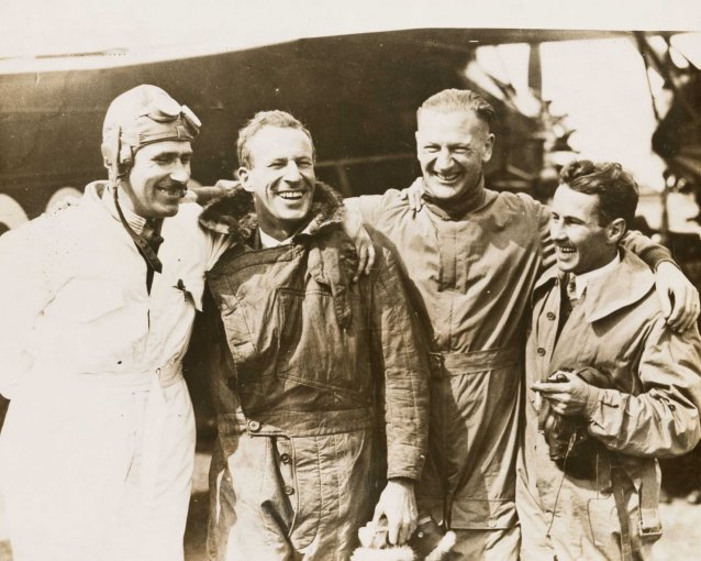 Charles Kingsford Smith and crew of the Southern Cross before the east-west crossing of the Atlantic, June 1930