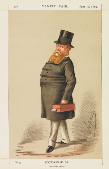 """A Returned Colonist"" Rt Hon. Hugh C.E. Childers (Image plate from Vanity Fair), 1869 Carlo Pellegrini"