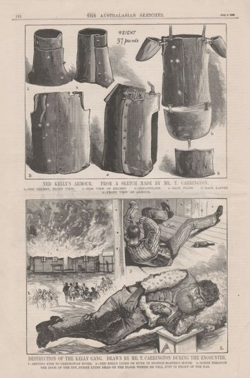 Ned Kelly's armour (from The Australasian Sketcher, 3 July 1880), 1880 by The Australasian Sketcher, Tom Carrington