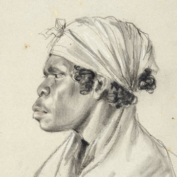 Bust-length portrait of Punch, an indigenous Australian woman and wife of Culaba, in profile to left, 1834