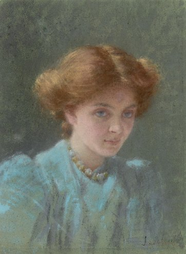 Blue and gold: portrait of Dorothy Sutherland, 1908 by Jane Sutherland (1853–1928)