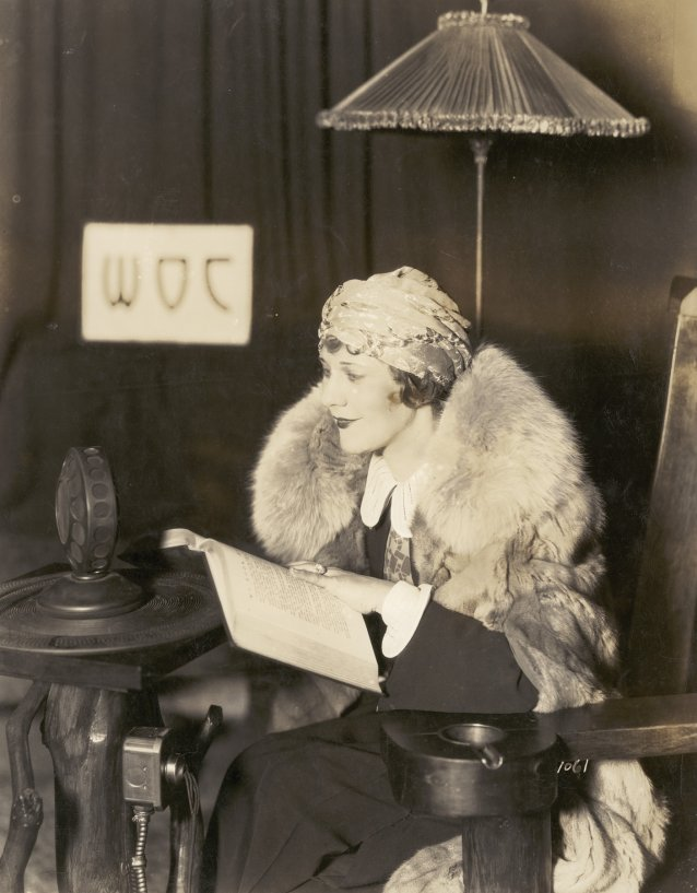 Louise Lovely in the WOC radio station – Davenport, Iowa, c.1922 Unknown photographer