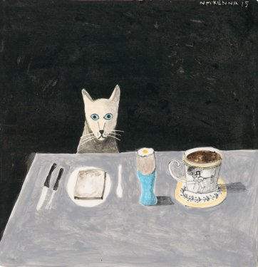 Cat at table, 2015 by Noel McKenna