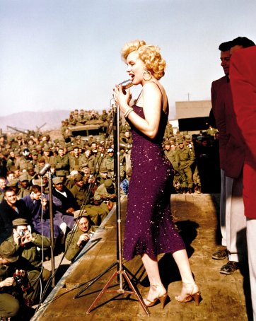 Actress Marilyn Monroe entertains the American troops during a USO tour in Korea, 1954