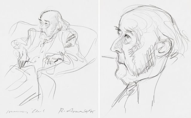 Two portraits of Manning Clark (seated recto), (head, verso)
