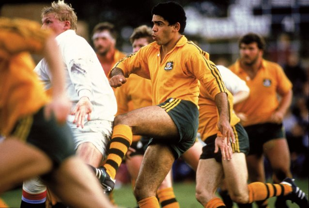 Mark Ella in action against a Combined Services English team, 1984
