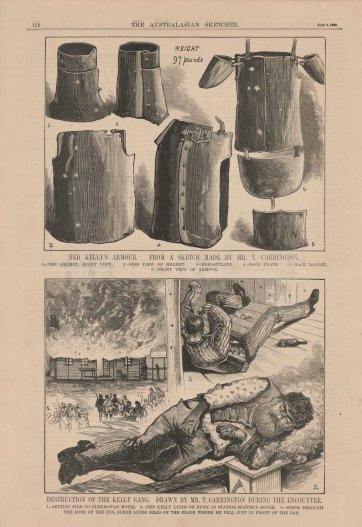 Ned Kelly's armour (from The Australasian Sketcher, 3 July 1880) by The Australasian Sketcher, Tom Carrington, The Australasian Sketcher