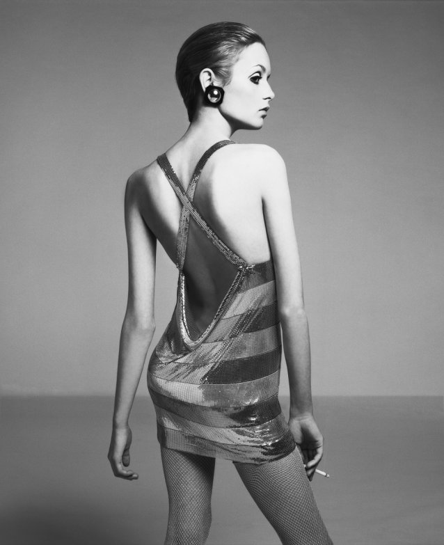 Twiggy, dress by Roberto Rojas, New York studio