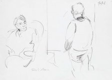 Sketch of Clifton Pugh painting John Perceval, 1985 Rick Amor