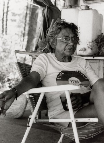 Oodgeroo Noonuccal at Moongalba Stradbroke Island (her sitting down place)1982 by Juno Gemes