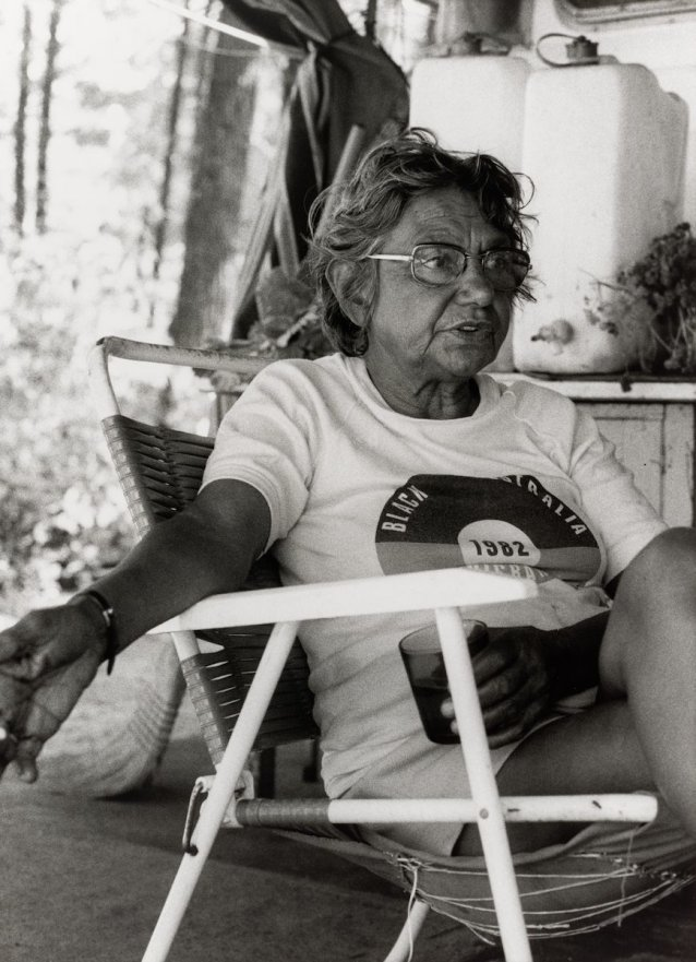 Oodgeroo Noonuccal at Moongalba Stradbroke Island (her sitting down place)1982 Juno Gemes