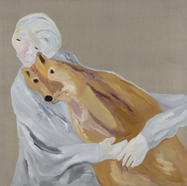 Dr Jane Goodall with dingo, 2015 by Darren McDonald