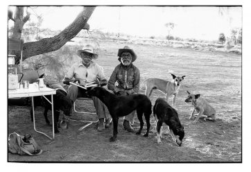 Dinny Nolan Tjamitjinpa and Paddy Carrol Tjungarrayi - Papunya, 1994 by Greg Weight