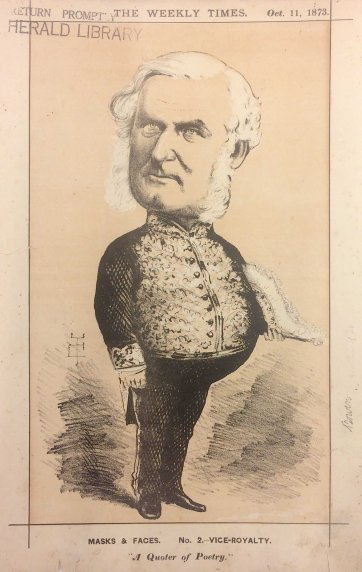 "Vice-Royalty. ""A Quoter of Poetry"" [George Bowen, Governor of Victoria] from the series ""Masks and Faces"", 1873 by Tom Durkin, The Weekly Times"