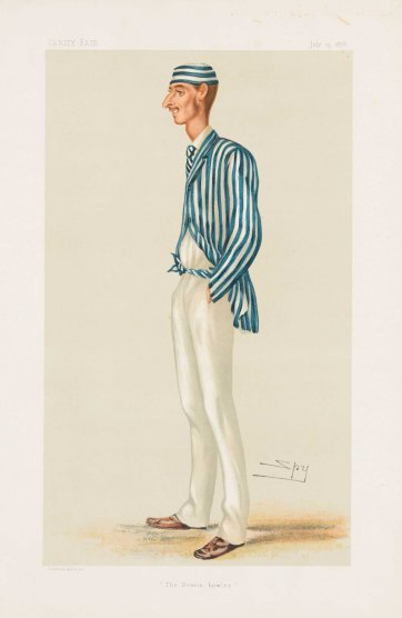 """The Demon Bowler""  Frederick Robert Spofforth (image plate from Vanity Fair), 1878 Sir Leslie Ward"