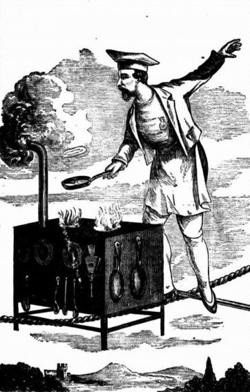Sketch of the Great Blondin cooking an omelette Australian Town and Country Journal, published 15 Aug 1874