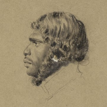 Portrait of Nunberri, Chief of the Nunnerahs, an indigenous Australian man, wearing a high collar, in profile to left, 1834-5