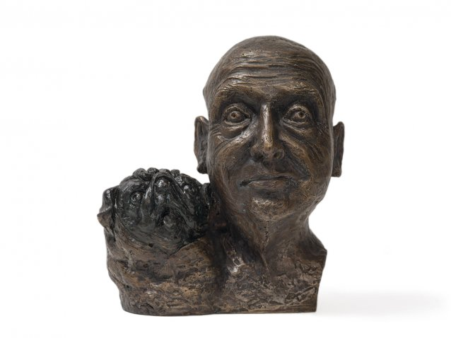 Self portrait with pug, 2009 by William Robinson