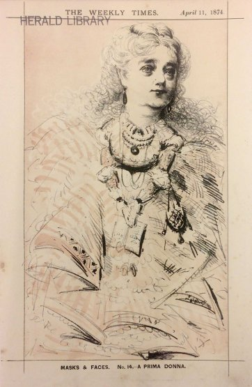 "A Prima Donna [Maria Palmieri] from the series ""Masks and Faces"", 1874 by Tom Durkin, The Weekly Times"