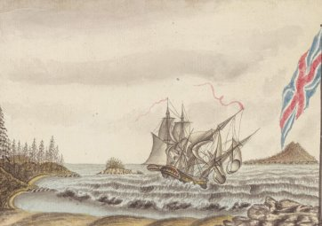 The melancholy loss of HMS Sirius off Norfolk Island March 19th 1790, c. 1790