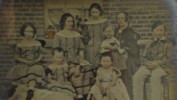 Maria Dowling and her children Leura, Bessie, Selina, Jane, Jack, Ben and Joe Dowling  [Selina Dowling, Jane Dowling, Maria Jane Dowling (née Ware), John Ware Dowling, Joseph Dowling, Benjamin Dowling, Elizabeth (Bessie) Dowling, Leura Dowling, c. 1859 an unknown artist